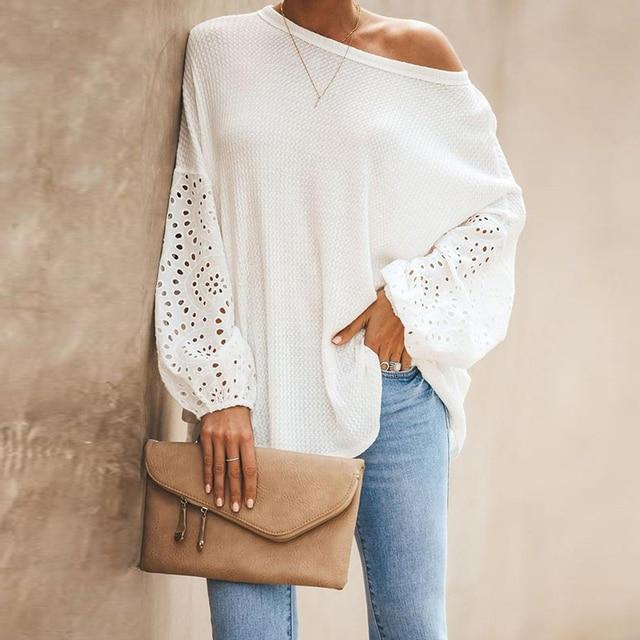 Elegant Solid Floral Hollow Out Blouse Shirt Women Lantern Sleeve White Tops Spring Blouse Casual Loose Blusas feminin Plus Size 3