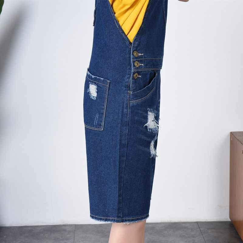 2ad6086db3f0 ... Plus Size 7XL Summer women denim bib pants casual short Playsuits  Ripped Wide leg jean Overalls