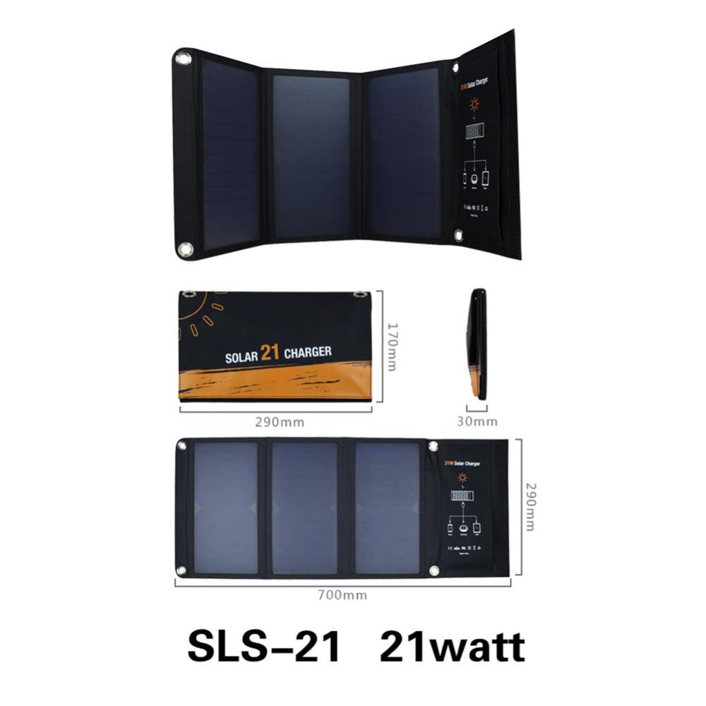 21 W Panneaux Solaires Portable Pliant Pliable Étanche Panneau Solaire Chargeur puissance Banque pour Téléphone Batterie Chargeur pour iphone x 6 7