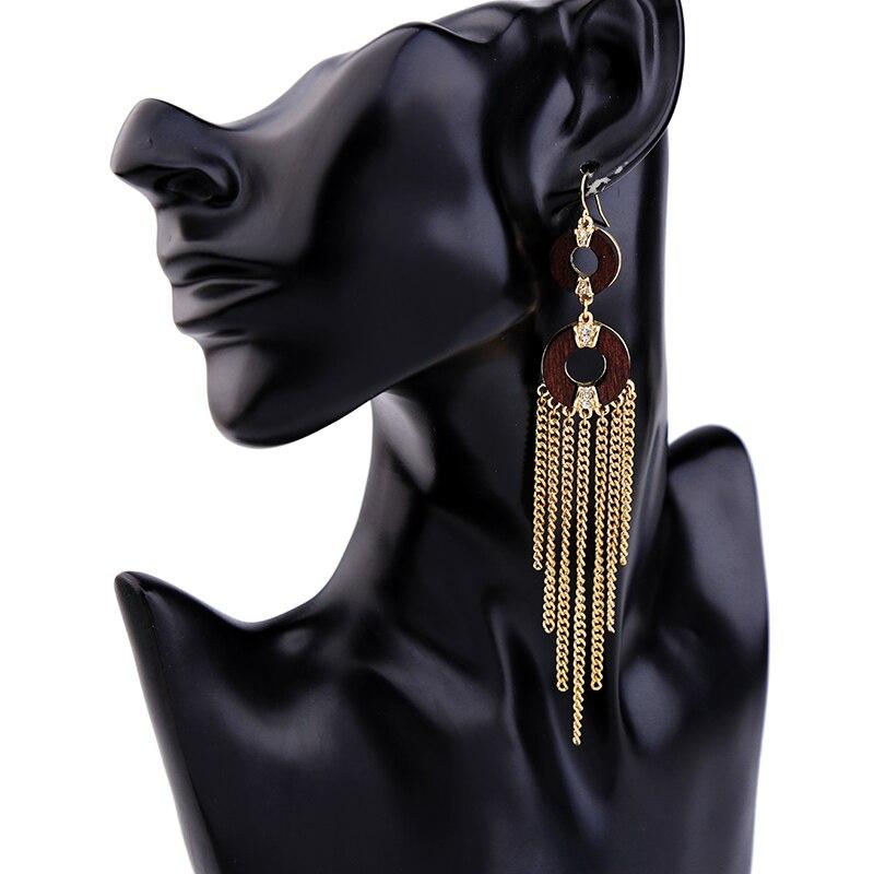KISS ME Round Wood Gold Color Alloy Tassel Long Earrings Stylish Dangling Drop Earrings Women Jewelry