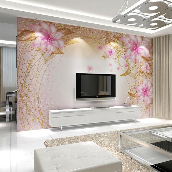 8d/5d Pink Dreamy Flower Papel Mural 3d Wall Mural Wallpaper Bedroom TV Sofa Background 3D Wall Photo Murals Fresco Wall paper