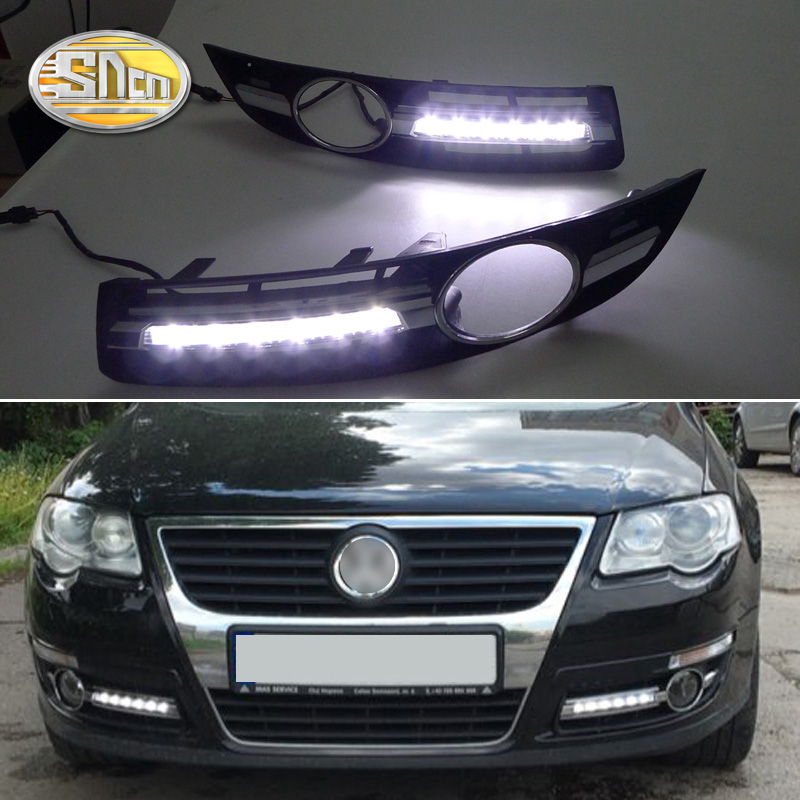 SNCN 2PCS LED Daytime Running Light For Volkswagen Passat B6 2007 2008 2009 Super Brightness 12V Car LED DRL Waterproof Daylight car drl kit for volkswagen magotan 2007 2011 daytime running light bar daylight fog lamps bulbs for car 12v vw led drl