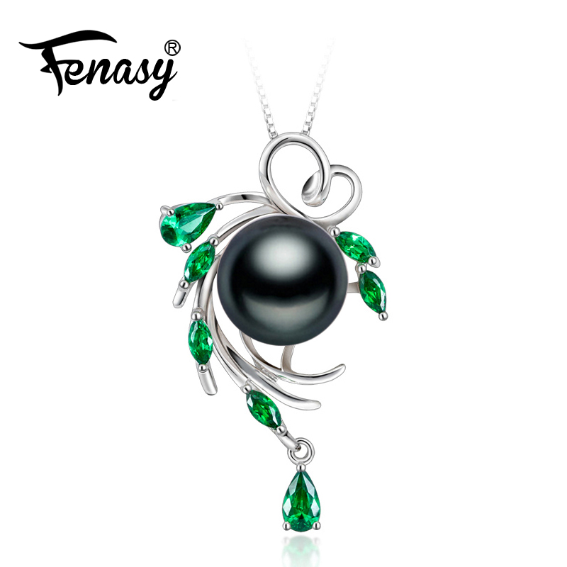 FENASY 925 sterling silver flower necklace,pearl jewelry Bohemia necklace,Pearl pendant necklace for women beryl Luxury Style