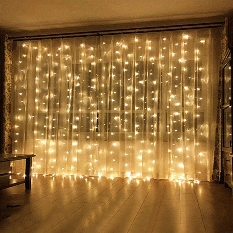 6X3M 600 LED Icicle LED String Light Outdoor Window Curtain Fairy Light String Wedding Party Garden Icicle Garland
