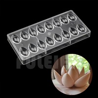 3D Lotus Shape Polycarbonate Chocolate Mold Kitchen Tools Cake Candy PC Chocolate Mould Baking Pastry Tools