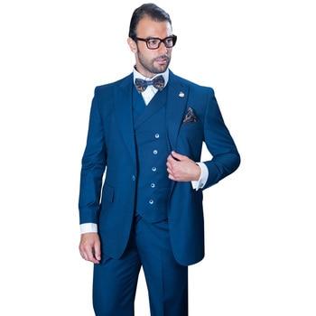 2017 Latest Coat Pant Designs Navy Blue Wedding Suits for Men Slim Fit 3 Piece Tuxedo Custom Groom Blazer Prom Suits Masculino