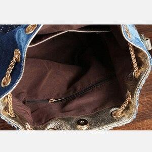 Image 5 - IPinee קיץ 2019 זהב שרשרת ג ינס תיקי לנשים מקרית בלינג ריינסטון ג ינס נשים כתף שקיות