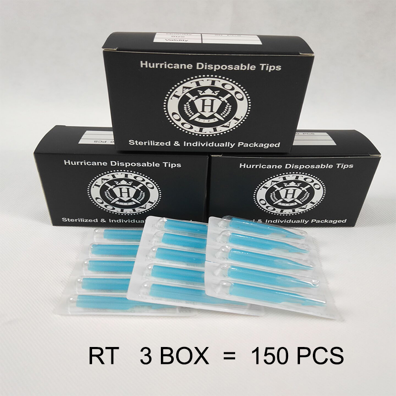 Tattoo Tip 150PCS RT Round Tip Tattoo Disposable Nozzle Tip For Beginners Tattoo Kits Supply Hurricane Tattoo Needle Blue