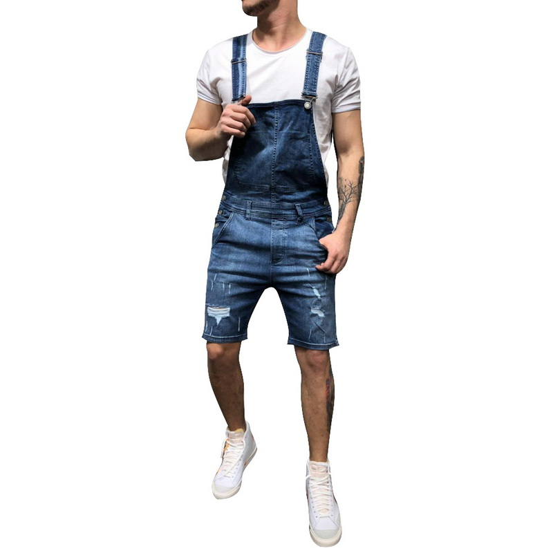 Shorts Jumpsuits Overalls Ripped Men's Summer Denim New Bib Solid Knee-Length