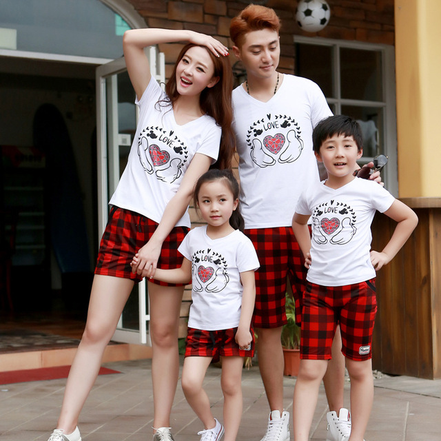 Семейный комплект мода футболка + клетчатые шорты одежда семья установить одежду для матери и дочери одежда комплект для отец и сын GS01