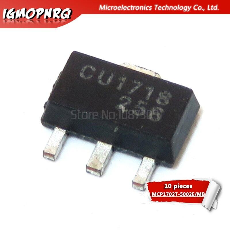10 pces MCP1702T-5002E/mb MCP1702T-5002E MCP1702T-5002 mcp1702t mcp1702 sot-89 original novo