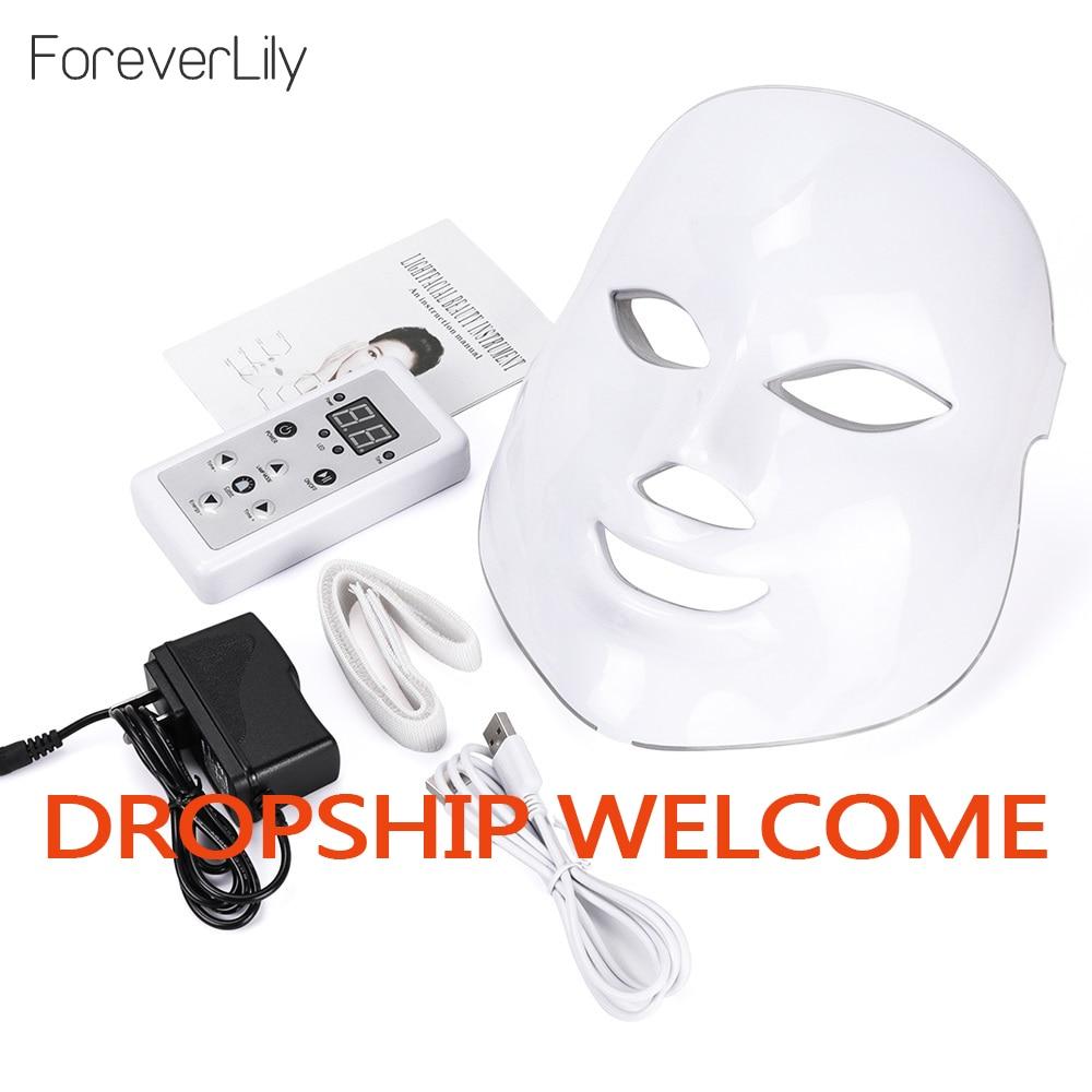 Led Mask Photon Electric LED Facial Mask 7 Colors Led with Neck Skin Rejuvenation Anti Wrinkle Acne Photon Therapy Salon tool(China)