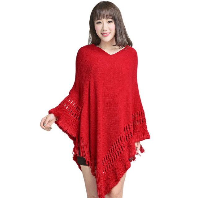 Women Knitted Shawl Tassel Sweater Oversized  Cape Poncho Winter Autumn Loose Sweaters Pullover irregularity Cloak Tops 5 Color