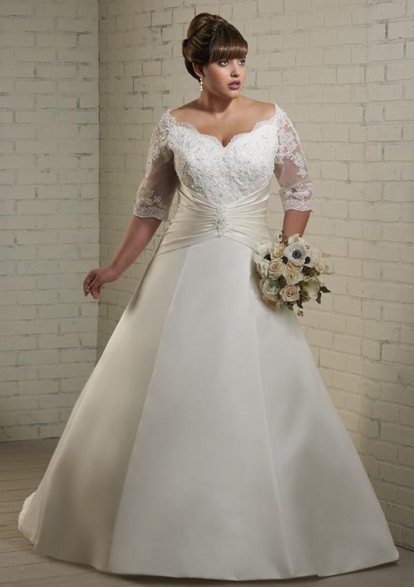 A line Satin Plus Size Wedding Dresses 2016 Half Sleeves V Neck ...