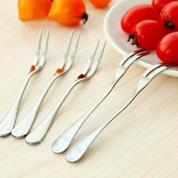 5pcs Stainless Steel fruit fork hotel restaurant party supplies salad snacks cake dessert forks kitchen tableware
