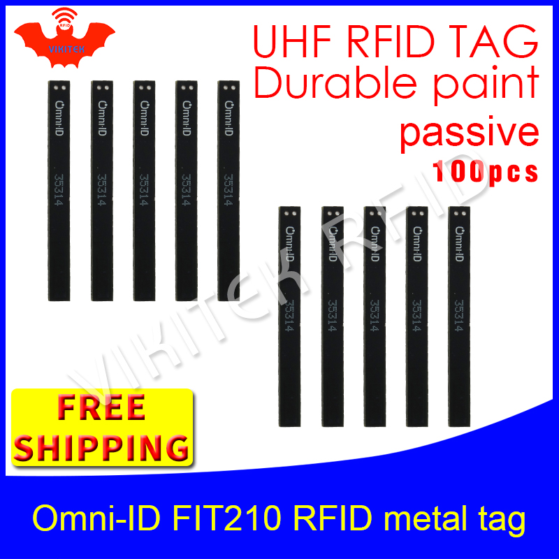 UHF RFID étiquette métallique omni-ID Fit210 915 m 868 mhz Alien H3 EPC 100 pcs livraison gratuite durable peinture long et mince passive RFID tags