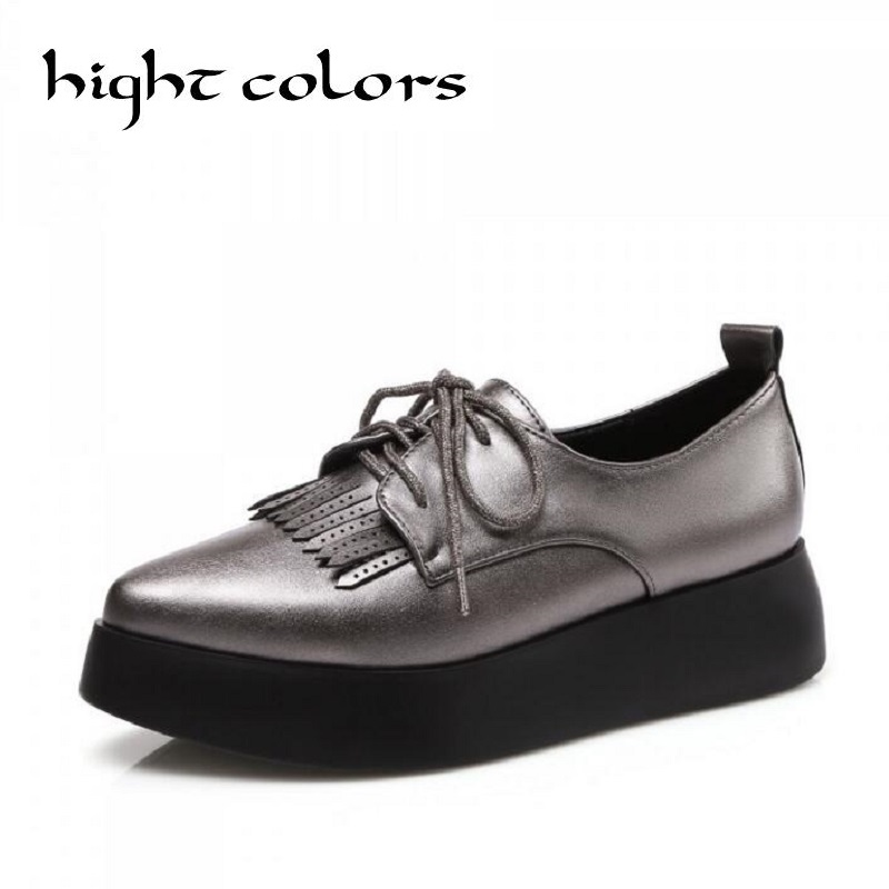 Silver Tassel Creepers Platform Shoes For Women Oxfords Brogue Faux Leather Lace Up Pointed Toe Flats Shoes Footwear US Size 42 qmn women genuine leather platform flats women lace cut glossy leather square toe brogue shoes woman lace up leisure shoes 34 39
