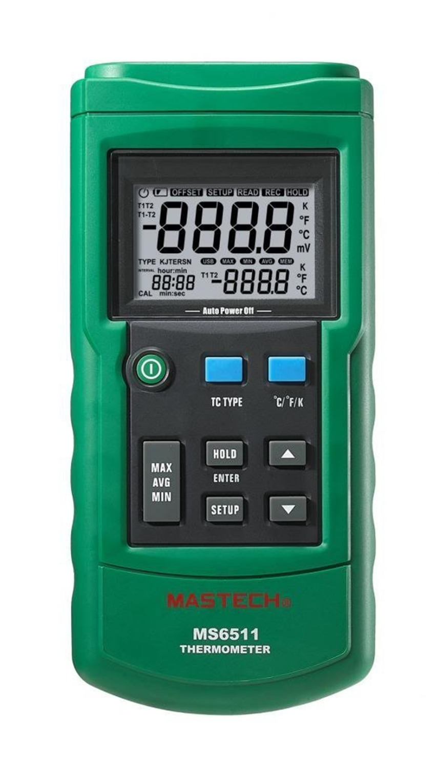 MASTECH MS6511 Digital Thermometer Temperature Logger Tester USB Interface K/J/T/E/R/S/N Thermocouple