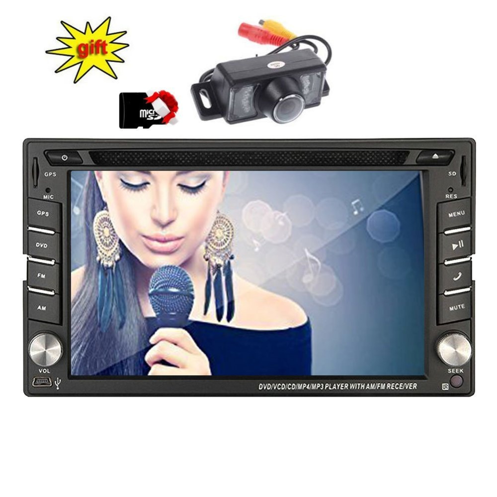 Backup Camera HD GPS Navigation 2 Din Car Stereo cd DVD Player In dash Radio Bluetooth USB SD AUX iPod MP3 PC touch screen music
