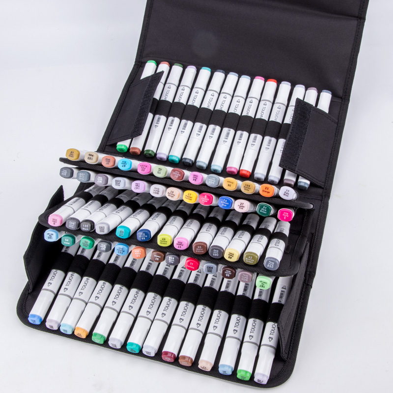 80Holder Large Capacity Folding Marker Pen Case Canvas Art Markers Pen Storage Carrying Bag Durable Sketch Tools Organizer touchnew 60 colors artist dual head sketch markers for manga marker school drawing marker pen design supplies 5type