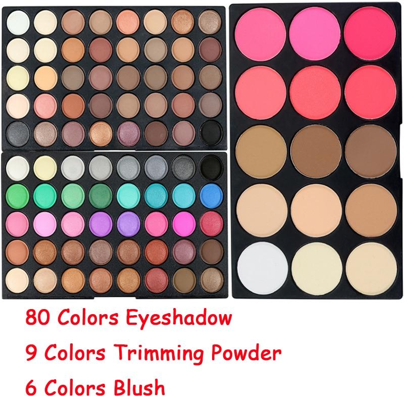 Brand 80 Colors Waterproof Shimmer Eyeshadow Eyes Palette Nude Matte Powder Contour Blush Make Up Pallete Eye Shadow Sets filorga optim eyes eye contour