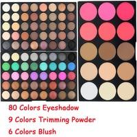 Brand 80 Colors Waterproof Shimmer Eyeshadow Eyes Palette Nude Matte Powder Contour Blush Make Up Pallete
