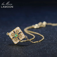 LAMOON Charms Bracelets 925 Sterling Silver Fine Jewelry Skull Flowers 2mm 0.06ct Natural Emerald Women Yellow Chain ChALkeR New