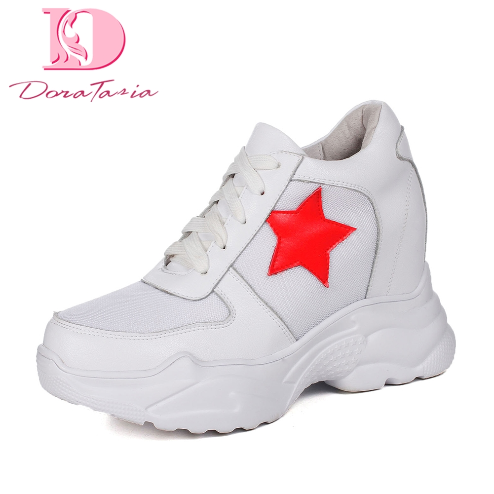 Doratasia 2018 High Quality Mesh comfort white sneakers women shoes Lace Up Vulcanize Shoes Woman Platform Shoes Footwear doratasia flowers embroidery women shoes sneakers lace up fashion flat platform ladies shoes woman high quality