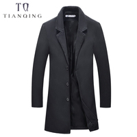 Brand Mens 2018 Autumn Winter New Men's Long Trench Coat Fashion Business Casual Wool Slim Woolen Overcoat Jacket Male