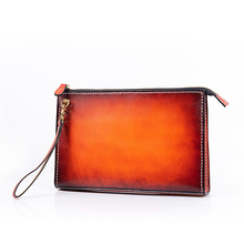Special Offer Cheap Handmade Women Men Vegetable Tanned Leather Bag Money Holder Clutch Purse Clutches Cow Lerther Envelope