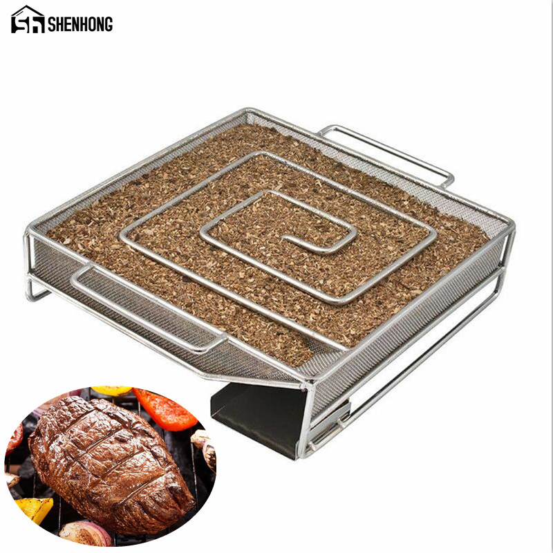 SHENHONG Various Shape Cold Smoke Generator for BBQ Grill or Smoker Wood Dust Hot and Cold Smoking Salmon Meat Burn Cooking Tool