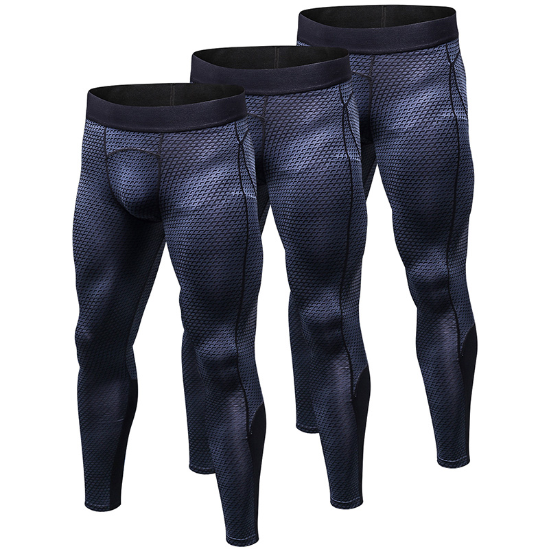 YEL US Local Delivery 3 PCS Compression Pantalones Hombre Fitness Tight Trousers Sweat Pants For Men Sport Running Leggings