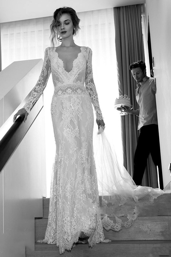 Vintage 2015 Boho Lace Wedding Dresses with Long Sleeves Backless ...