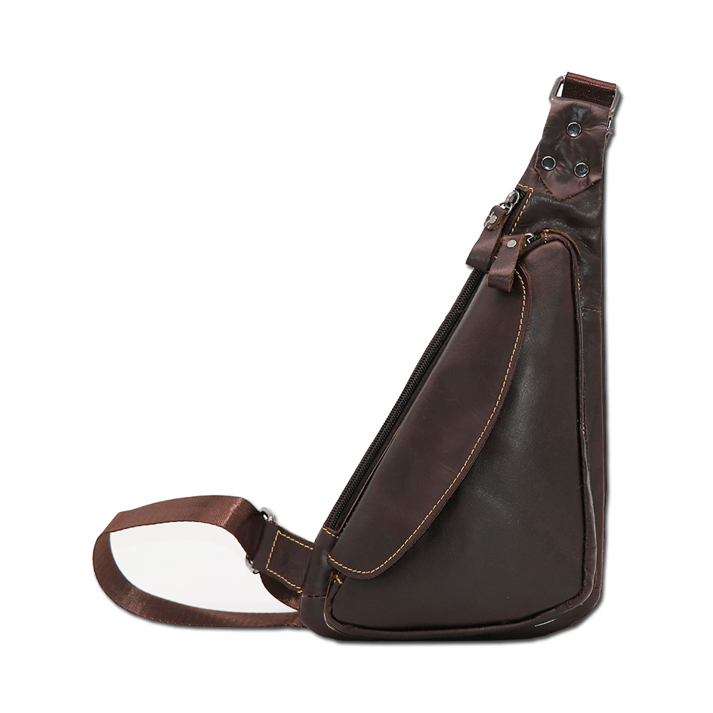 Prekės ženklas GO-LUCK Tikras odos atsitiktinis krūtinės paketas Sling Bag Vyriški pečių maišai Messenger krepšiai Kelionės krepšys Solid Zipper Style Design
