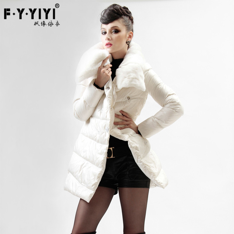 European winter really Rex fur collar jacket thin long coat white eiderdown women slim tide