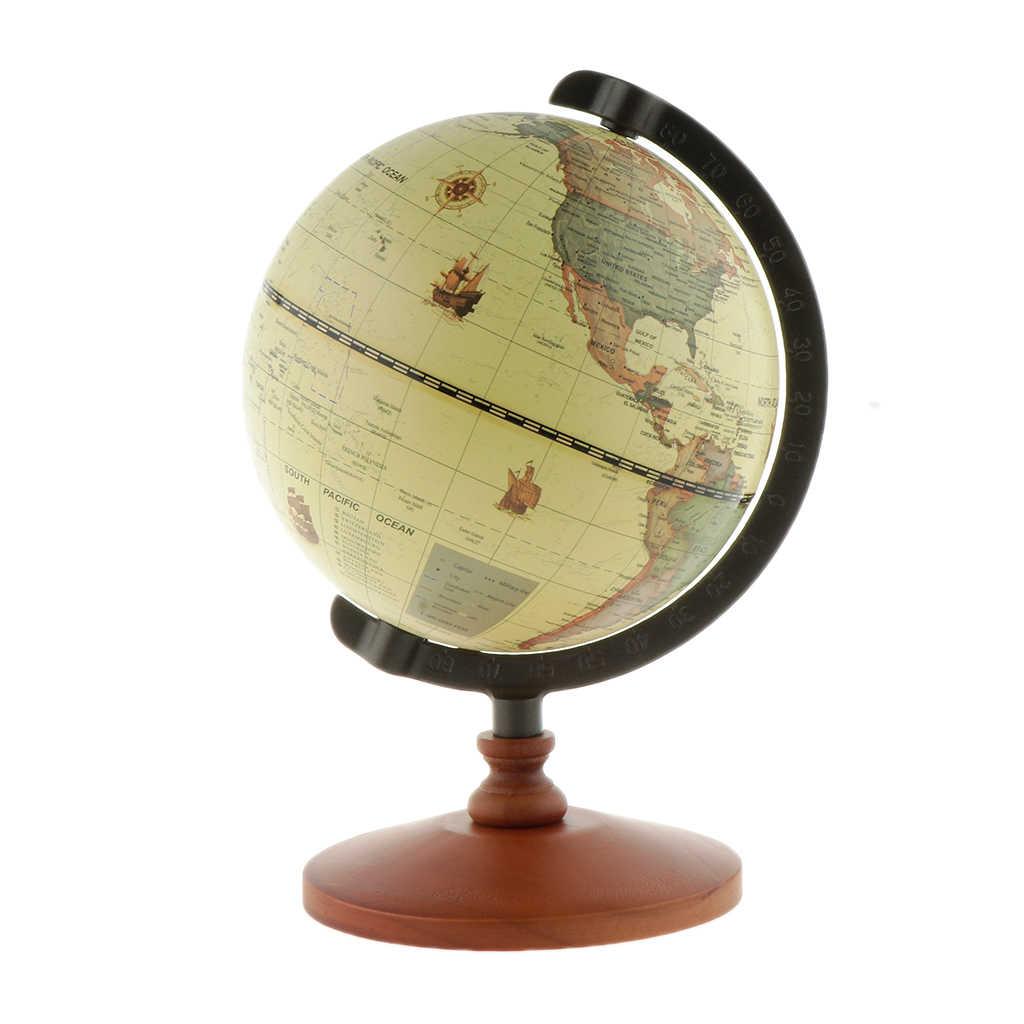 "5 ""Vintage หมุนจอแสดงผลในประเทศ Store เคาน์เตอร์ตกแต่งไม้ Globe เครื่องประดับ Source World แผนที่จอแสดงผล"