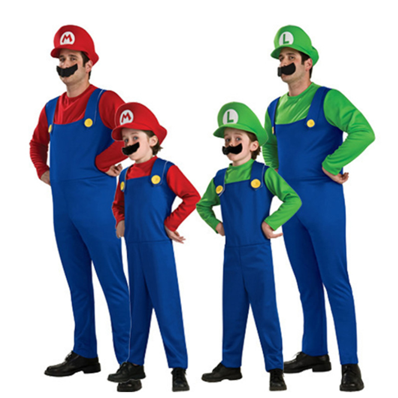 Kids Boys Girls Super Mario Brothers Costumes Plumber Fancy Dress Up Formal Cosplay for Kids Halloween Party Wear