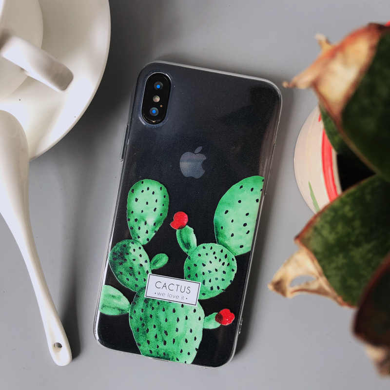 pretty nice 5c134 55afe Flower Succulent Plants Phone Case For iPhone X 8 7 6 6S 6plus 7plus Case  Cactus Leaves Soft Silicone TPU Cover