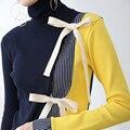 [XITAO] европа и Соединенные Штаты ветер женский пуловер водолазка с длинным рукавом свитера полосатый свитер вязать свитер галстук-бабочку HRG002