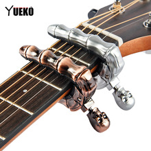YUEKO skull Guitar Capo for bass Electric Acoustic Guitar accessories parts Guitarra new saysn high quality 41 walnut acoustic guitar rosewood fingerboard oil varnish beginners guitarra with backpack strap capo