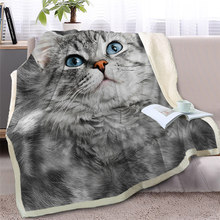 Gray Cat Throw Blanket on Bed 3D Animal Plush Sherpa Blanket Pet Siamese Bedspreads Fur Print Thin Quilt Drop Ship(China)