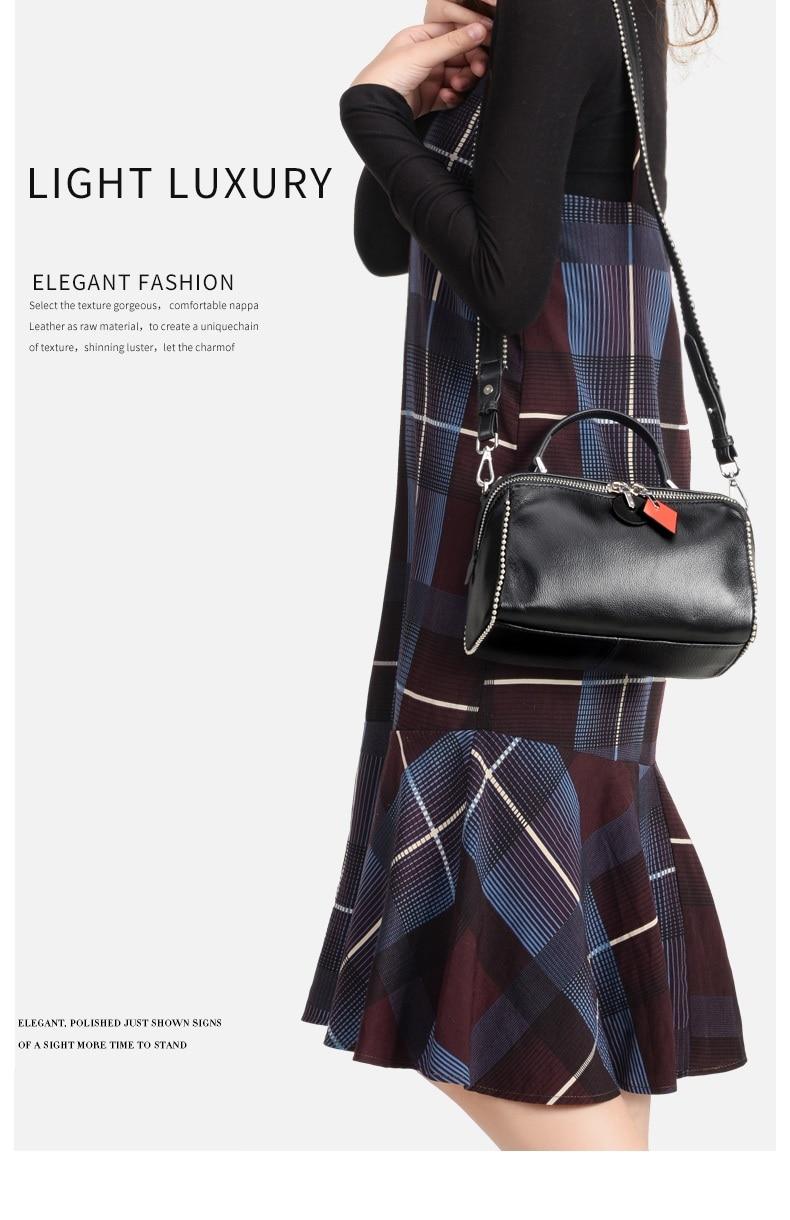 701b41e28ff8 Kamicy 2018 girl s bag new fashion style Female bag Cowhide handbag  shoulder bag Rivets bag 100% cowhide-in Shoulder Bags from Luggage   Bags  on ...