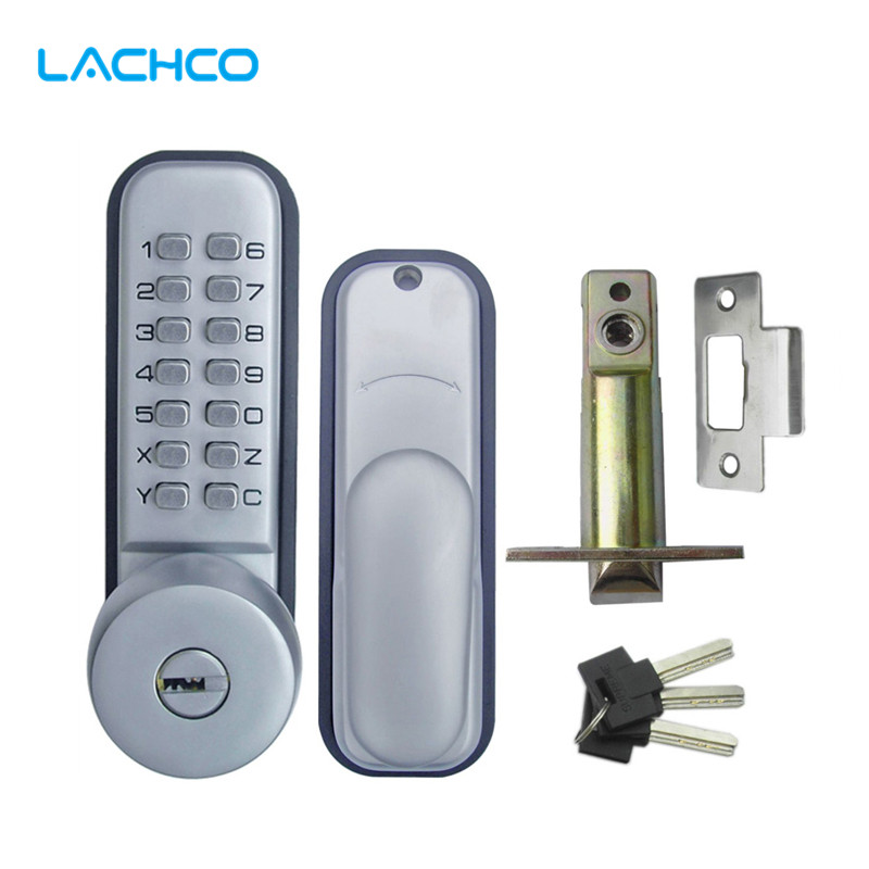 LACHCO  Mechanical Code Lock Digital Machinery Keypad Password Door lock Stainless Steel Latch Zinc Alloy Silver L17009 bqlzr 8 inch hairline finish silver security door slide flush latch bolt