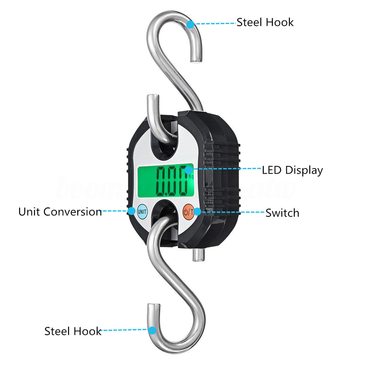 1pc Mini 150kg Weight Crane Scale LCD Digital Electronic Hook Hanging Scales with 2pcs Hooks portable mini crane scale 150kg lcd digital weight electronic hanging hook scales mayitr