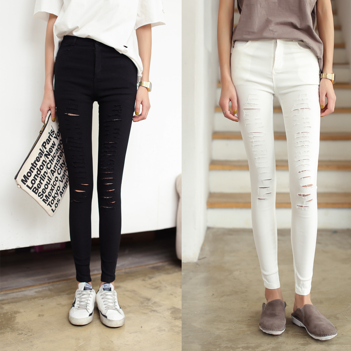 2017 Fashion Skinny Jeans Women Ripped Jeans Denim Pants Holes Destroyed Black White Stretch Pencil Pants