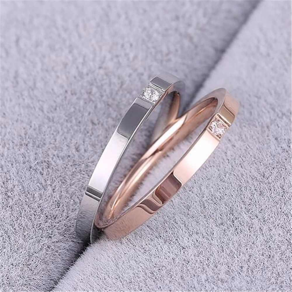 1Pc Lovers Titanium Steel Single Crystal Ring Jewelry Gifts #268295