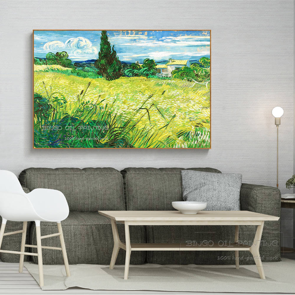 Artist Hand painted High Quality Green Wheat Field with Cypress Trees Oil Painting Reproduce Van Gogh Green Field Oil Painting in Painting Calligraphy from Home Garden