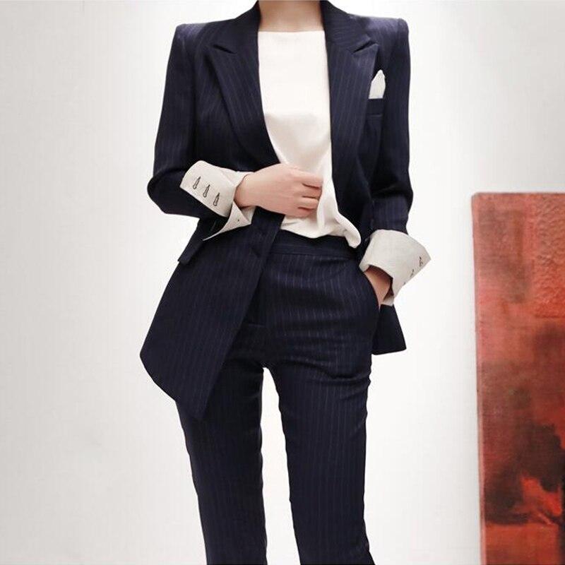 Col Nouveau Mode Pantalons Tenues Veste Blue Mince Pantalon Crayon Travail Et Femmes Costumes Blazer 2018 Dark Cranté Ol Rayé D'affaires xIB4ITw1qR