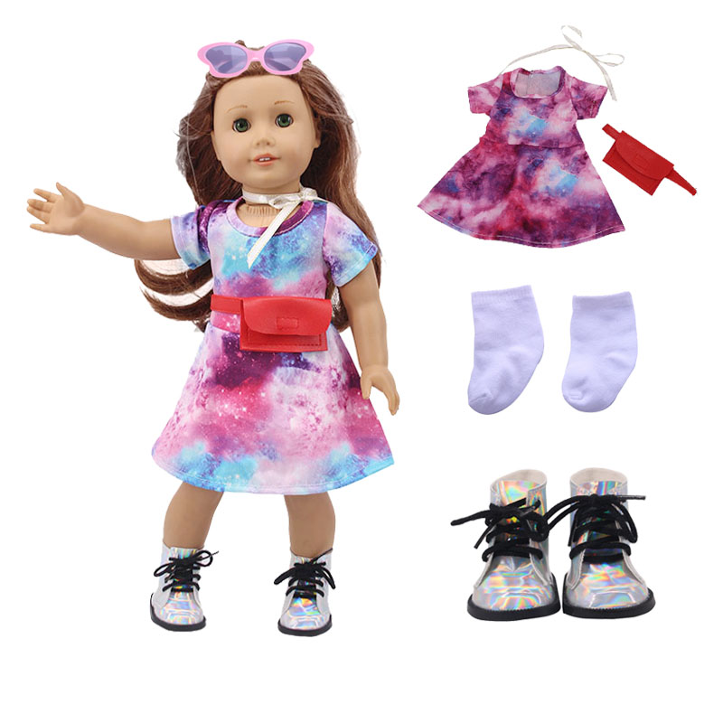 1 Set Doll Clothes=1 Pcs Star Sky Skirt+Silk Ribbon+Bag+Rainbow Shoes For 18 Inch American Doll & 43 Cm Born Doll For Generation