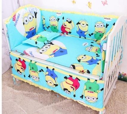 ФОТО Promotion! 6pcs Baby bedding Set Crib bumper set 100% cotton crib bedding Set ,include (bumpers+sheet+pillow cover)